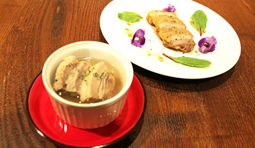 >猪バラのチーズカツ<br>猪肉の柔らか煮込みスープ<br>※ジビエ料理は事前にご予約をお願いします<br>