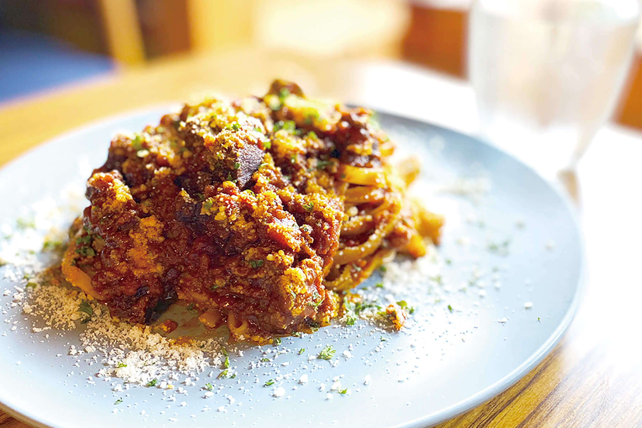 >鹿肉のボロネーゼパスタ (サラダ、スープ付き)